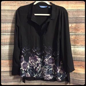 Simply Vera black purple sheer floral blouse